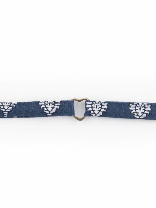 bracelet tissu provençal bleu, coeur laiton. made in france