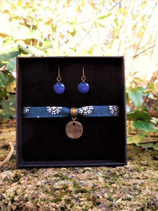 bracelet bleu boucles d'oreilles émail bleu made in france