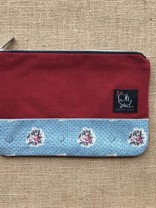 pochette trousse jean rouge tissu provencal, fleur, bohème, bohème chic, esprit liberty, fait main, made in provence