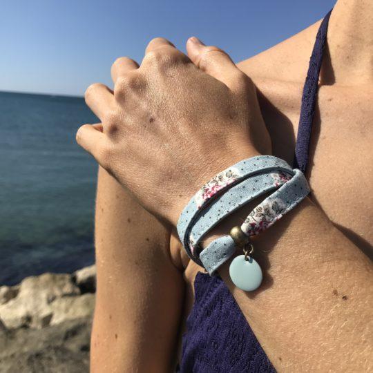 Bracelet textile, bracelet liberty bleu