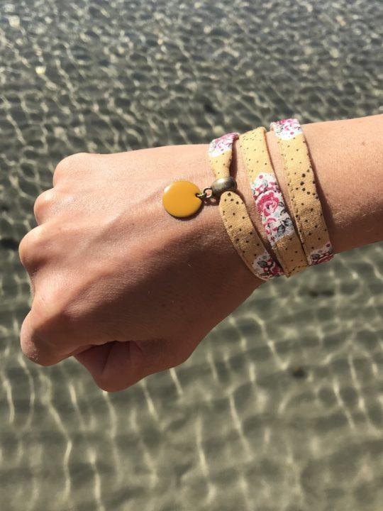 Bracelet textile, bracelet liberty jaune