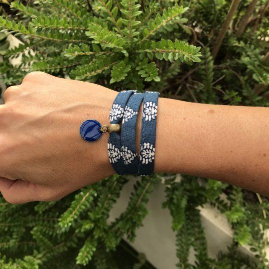 Bracelet tissu bleu liberty