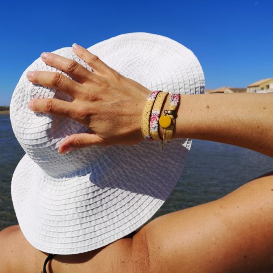 Bracelet textile, bracelet liberty jaune moutarde